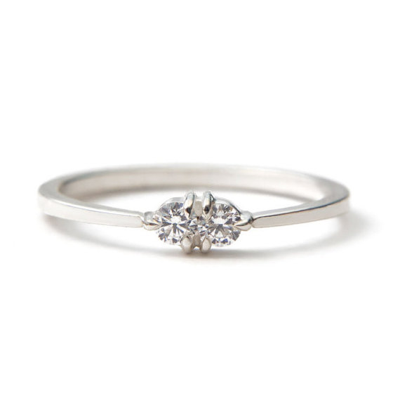 white gold diamond toi et moi ring vintage inspired but with modern claw prongs delicate dainty everyday or engagement ring - Dainty Wedding Rings