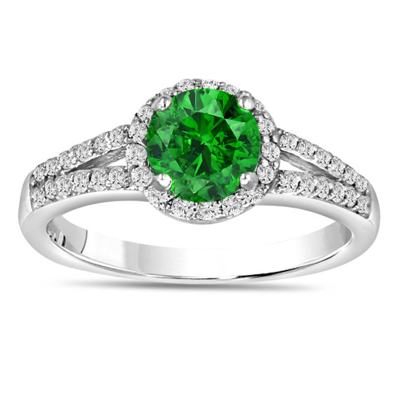 Mariage - Fancy Green Diamond Engagement Ring 1.36 Carat Fancy Green & White Diamond Engagement Ring 14K White Gold Halo Certified Handmade
