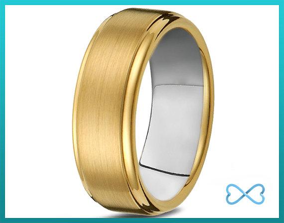 Titanium Wedding BandMens BandBeveled EgdeMens RingCustom Made RingsBands8mm18k Yellow GoldMansHis HersSizeAnniversary