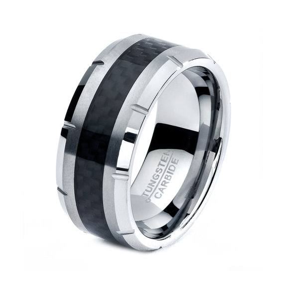 Black Tungsten Ring Men Rings Wedding Bands Mens Band Women