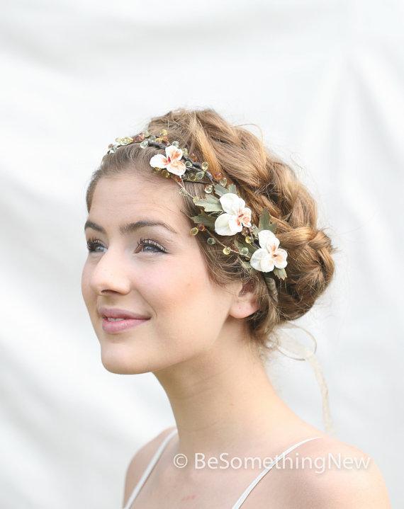 Woodland Wedding Hair Wreath With Vintage Velvet Pansies Accessory Flower Festival Crown