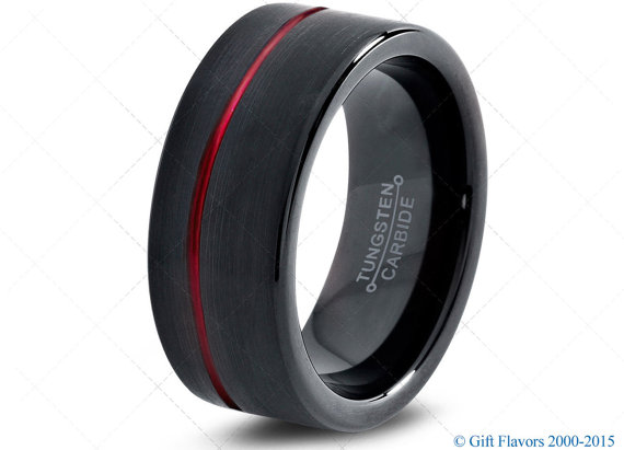 Black Tungsten Ring Red Men Tungsten Rings Red Wedding Bands