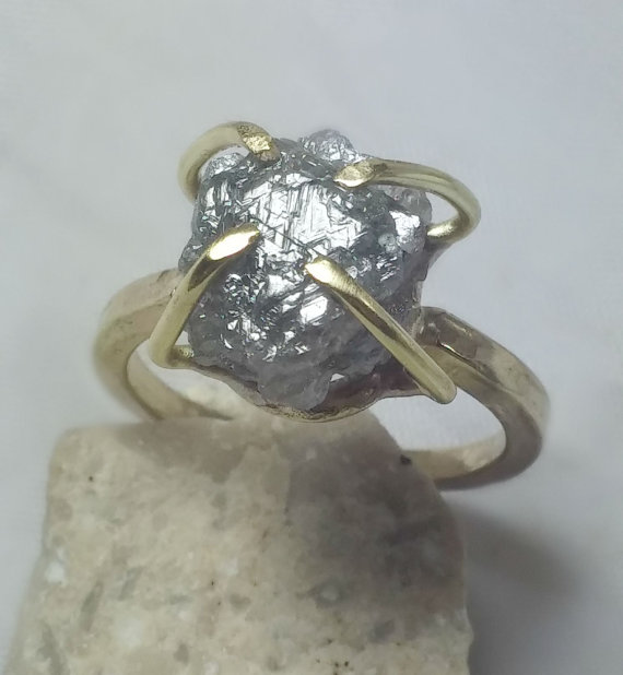 Mariage - 7.3 carat  Rough Diamond and Yellow Gold Solitaire ring,  engagement ring, Huge raw diamond   ring, solid gold wedding ring