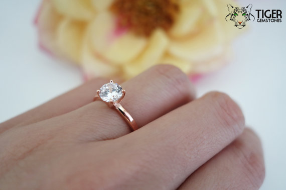 1 carat 6mm Solitaire Engagement Ring, Round Man Made Diamond Simulant,  Wedding, Promise Ring, Bridal, Sterling Silver, Rose Gold Plated