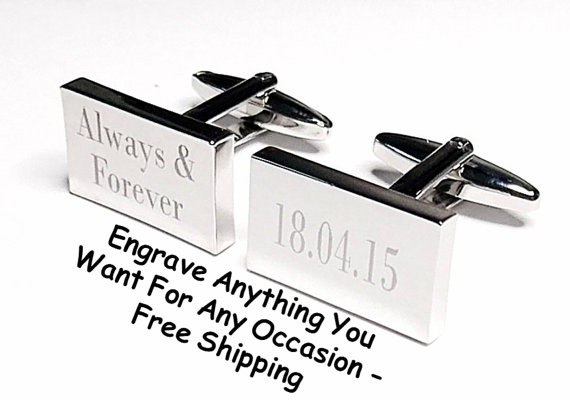 Wedding - Silver Date Rectangle Engraved, Wedding Cufflinks, Personalised Date, Always and Forever, groom cufflinks, best man, usher, Custom Cufflinks