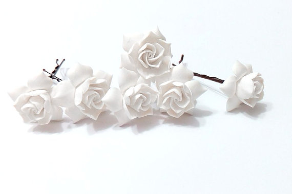 Wedding - White gardenia hair flower Set of 6, white Gardenia Hair Clip, gardenia Hair pin, white Bridal Hair Flowers, gardenia, Wedding Hair Set of 6