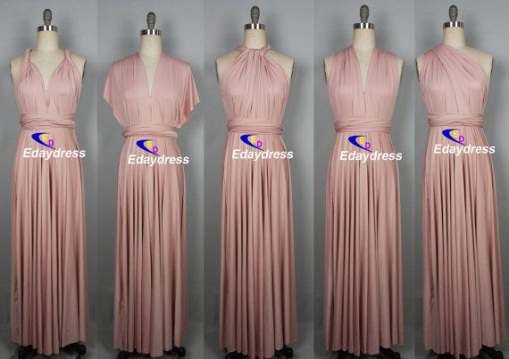 زفاف - Maxi Full Length Bridesmaid Infinity Convertible Wrap Dress Nude Pink Multiway Long Dresses Party Evening Any Occasion Dresses