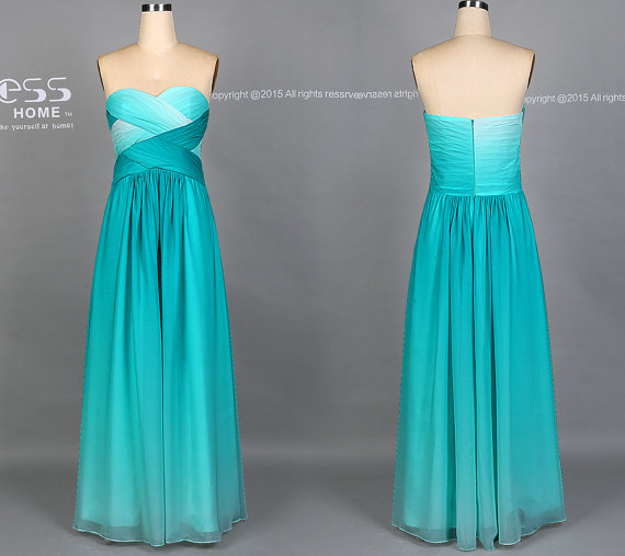 Hochzeit - Impressive Turquoise Sweetheart Long Prom Dress/Wedding Party Dress/Long Green Ombre Bridesmaid Dress/Sexy Evening Dress/Prom Dresses  DH401