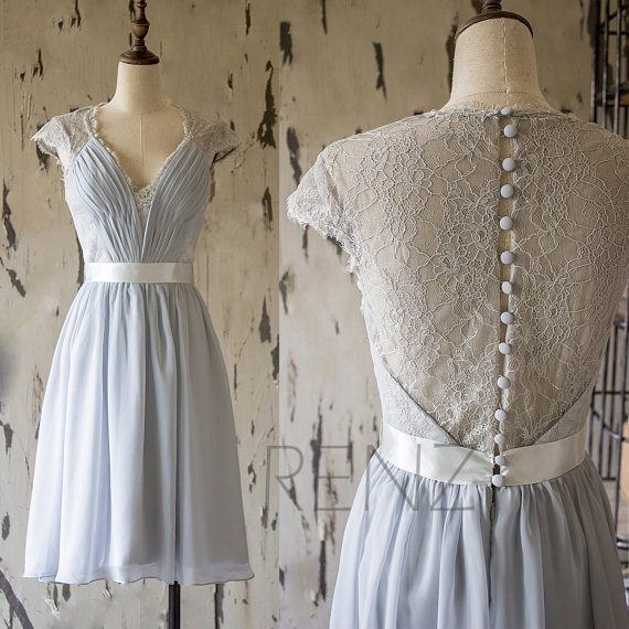 زفاف - 2015 Grey Lace Bridesmaid Dress, Short Wedding dress, Cap Sleeve Formal Dress,Gray Long Prom Dress,Tea Length Cocktail Dress(F143)-Renzrags