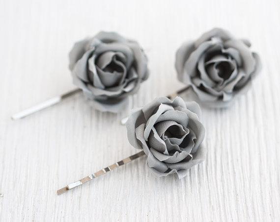 Hochzeit - Gray wedding, Hair clips roses, Flower pins, Hair clips flowers, Floral hair accessories, Flower hair piece, Wedding barrettes,Rose barrette