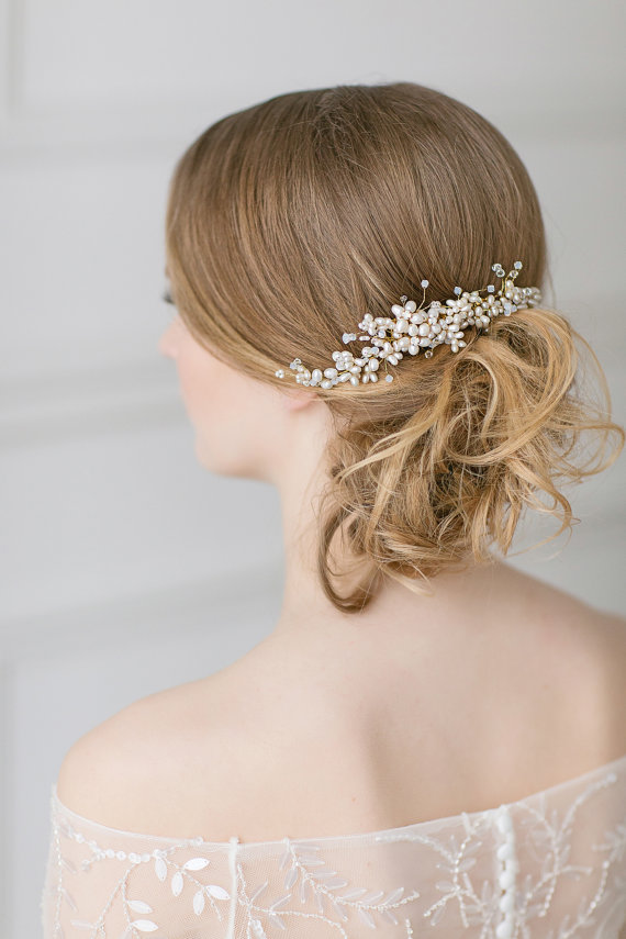 Wedding Pearl Hair Piece Gold Swarovski Headpiece Bridal Comb Large Freshwater Accessories