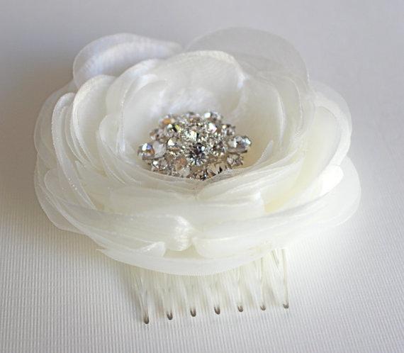 Bridal Ivory Flower Hair Accessories : Ivory wedding hair flower bridal