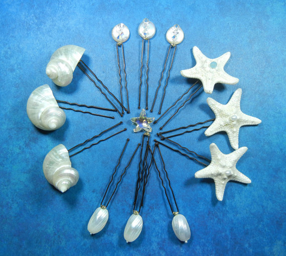 Wedding - Starfish Seashell  Pearly Hairpins - Mermaid's  Pearly Bridal  Treasure