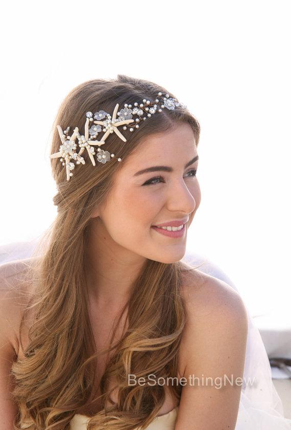 Wedding - Beach Wedding Starfish and Pearl Wired Hair Vine, Nautical Wedding Headpiece, Destination Wedding Headband Beaded Tiara with Star fish