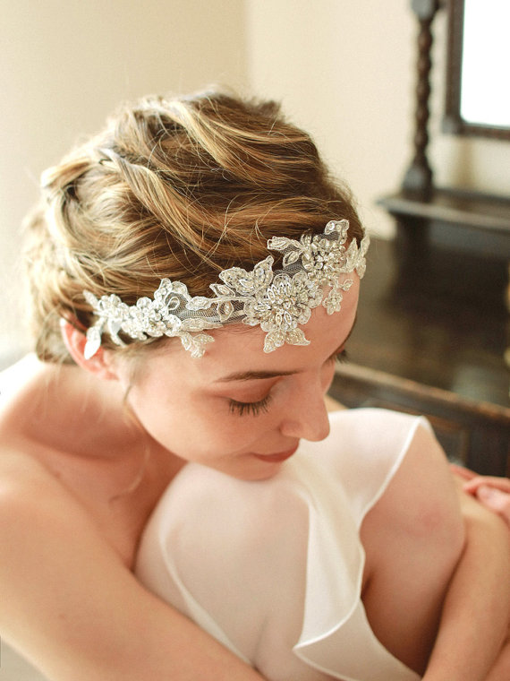 Wedding - Silver wedding headband, bridal headpiece, wedding headdress, crystal head band - style 208