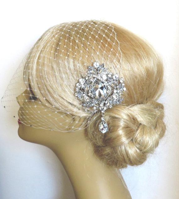 Wedding - Birdcage Veil and a Bridal Hair Comb (2 Items), Bridal Hair Comb,Rhinestone Bridal Hair Comb, Weddings, Silver, Rinestone