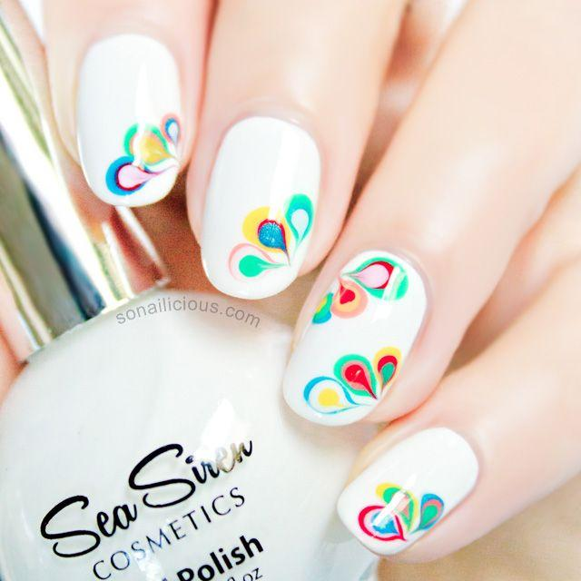 Rainbow Drops Drag Marble Nail Art Tutorial 2374910 Weddbook