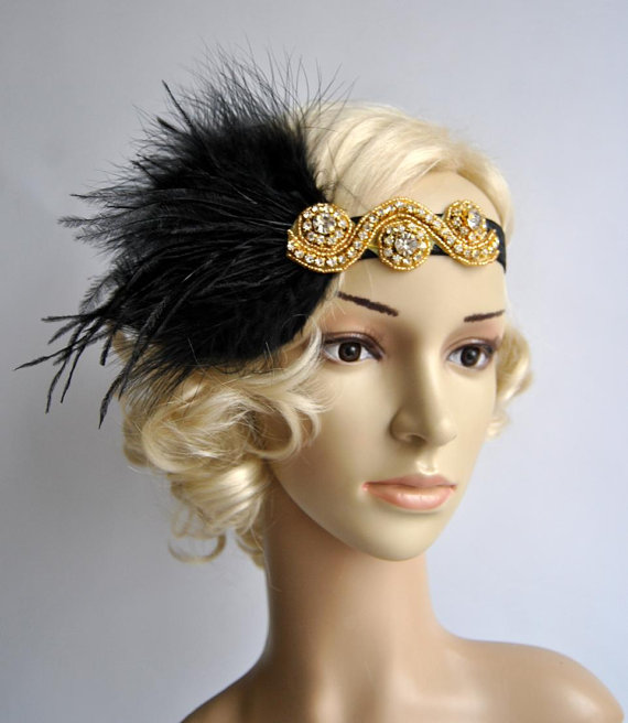 Mariage - Gold Great Gatsby 20's flapper Headpiece,Vintage Inspired, Bridal 1920s Headpiece ,1930's, Rhinestone headband, Rhinestone flapper headpiece