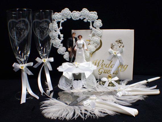 Mariage - STAR WAR Han Solo Princess Liea Wedding Cake topper LOT glasses, knife, book