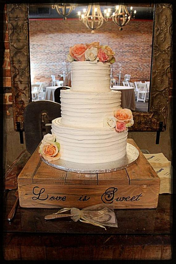 14 16 18 Love Is Sweet Cake Stand Wedding Woodland Barn Rustic Chic