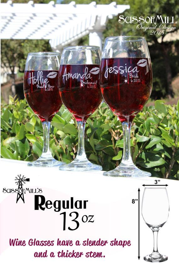 set of 4 bridesmaid gift bridesmaid wine glasses bridesmaid gift ideas bridal shower favors bachelorette party favors rehearsal dinner