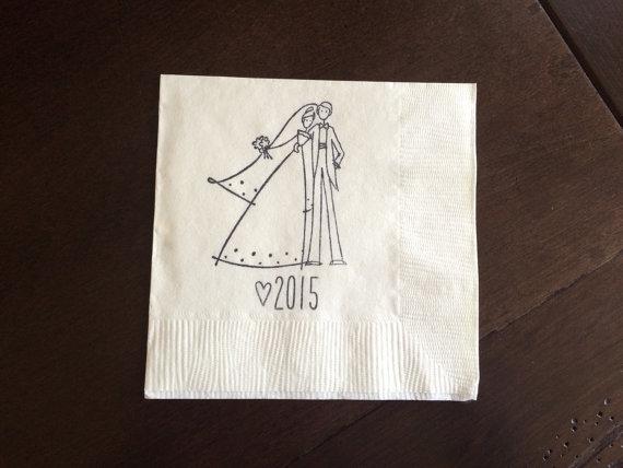 زفاف - Wedding Couple with Year Napkins - Monogrammed Initials Custom Napkins, Engagement Party, Wedding Napkins, Bridal Shower Bachelorette Party