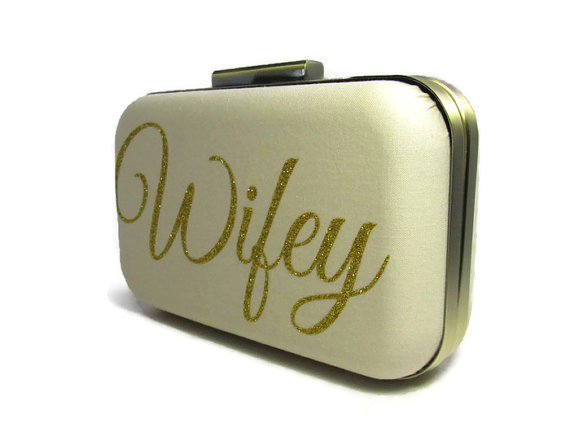 Hochzeit - Wifey clutch  Bridal Clutch  Gold Glitter  Bridal accessories  Wedding accessories  Gold Wifey  Gold Clutch