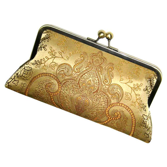Mariage - Gold Silk Clutch - Classic Damask Purse - Silk Lining