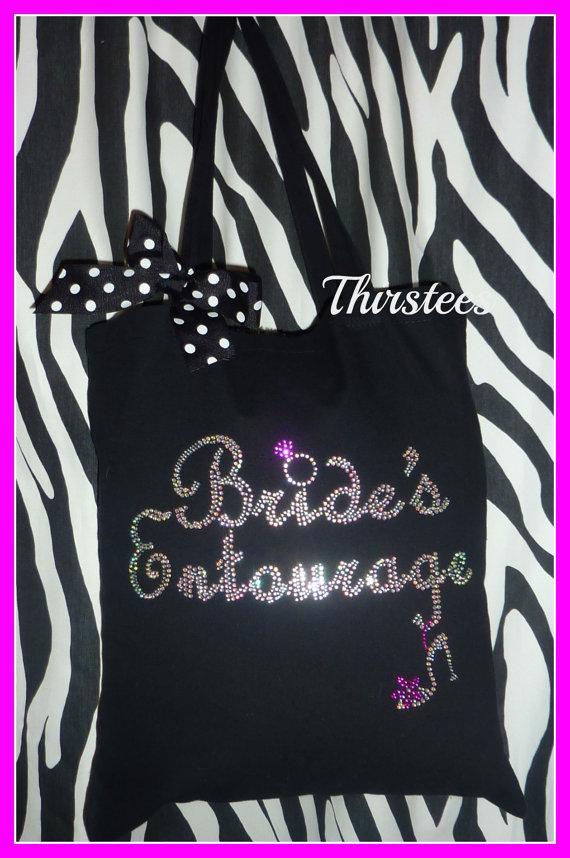 Brides Entourage Rhinestone Totes Bridal Party Totes Wedding Gift ...