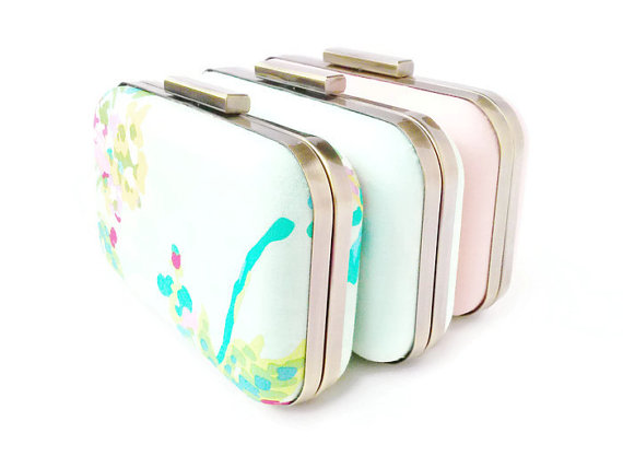 Mariage - set of 3 clutches, mint bridesmaids, bridesmaids gifts, mint weddings, mint clutches, peach weddings, bridal clutch, peach bridesmaids