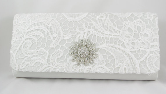 Mariage - White Lace Bridal Clutch - Lace Wedding Handbag - White Bridal Clutch - Crystal Elegant Formal Clutch  - Vintage Inspired Lace Bridal Purse