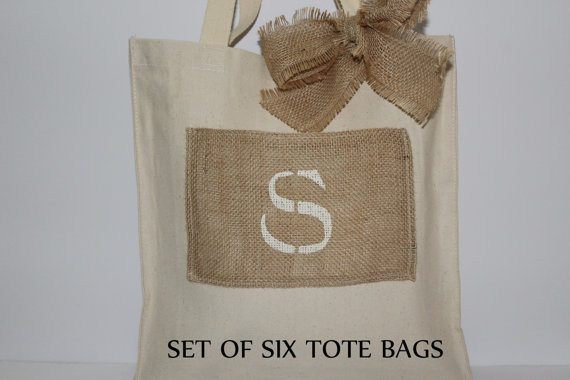 Mariage - 6 Wedding Bags - Rustic Tote Bags - Bridesmaid Gifts