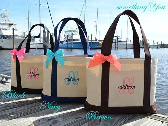 Mariage - Personalized Bridesmaid Tote in Black Natural Canvas - Personalized Bridesmaid Gift - Large Boat Tote with Ribbon Bow- Initial and Name Tote