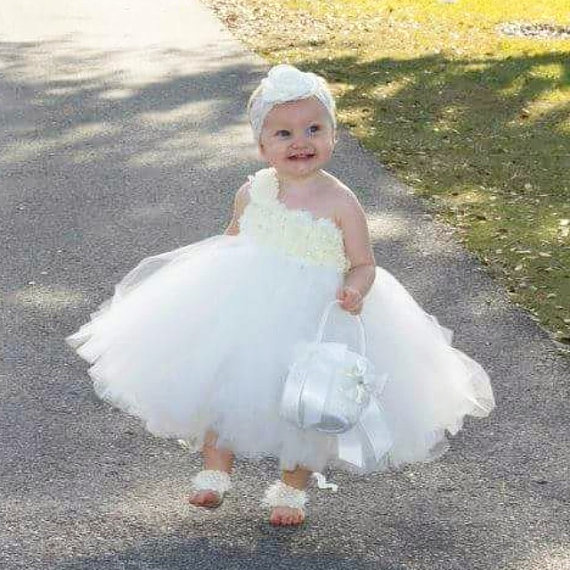 Ivory Flower Girl Dress Baby Girl Flowers Dress TuTU Dress Handmade ...