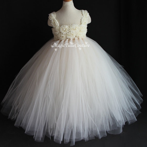 Mariage - Ivory Rhinestone Elegant Flower Girl Tutu Dress Tulle Dress - Rustic
