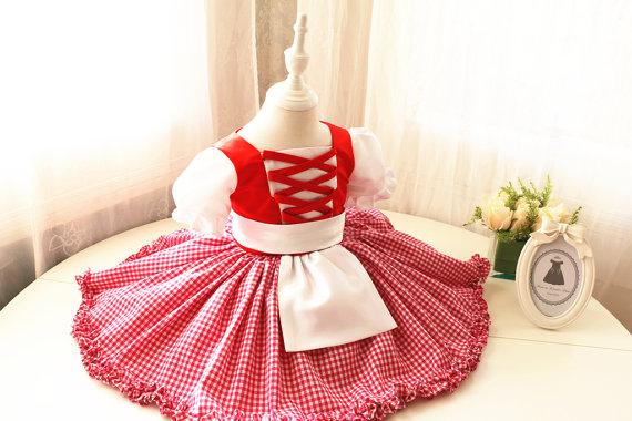 زفاف - Toddler Handmade Little Red Riding Hood Halloween Costume Dress and Cape, Toddler Easter Dress, Baby Girl Halloween Dress, PD088-1