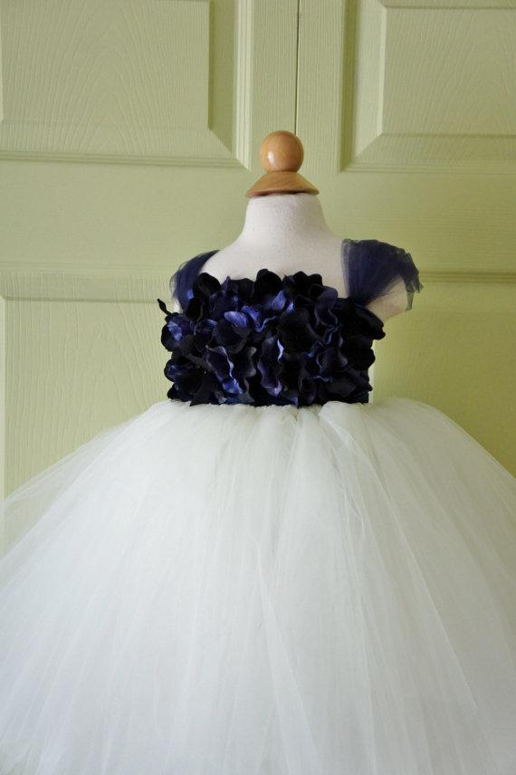 زفاف - Flower Girl Dress, Tutu Dress, Photo Prop, Blue and Ivory, Flower Top, Tutu Dress
