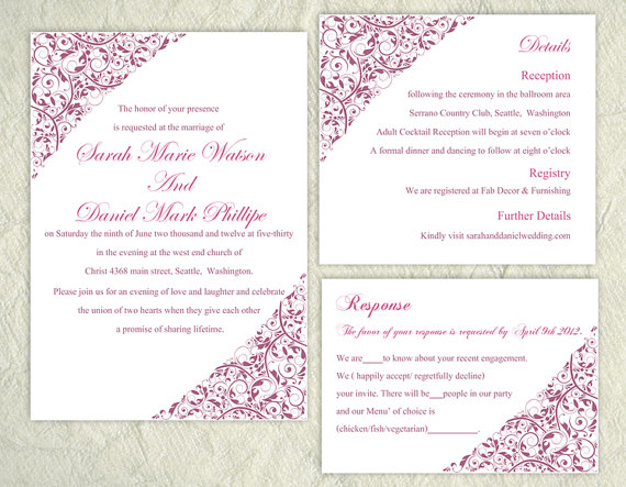 Mariage - Printable Wedding Invitation Suite Printable Invitation Eggplant Wedding Invitation Floral Invitation Download Invitation Edited jpeg file