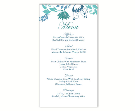 Lovely Wedding Menu Template DIY Menu Card Template Editable Text Word File  Instant Download Blue Menu Floral Menu Template Printable Menu 4x7inch And Menu Templates Free Download Word