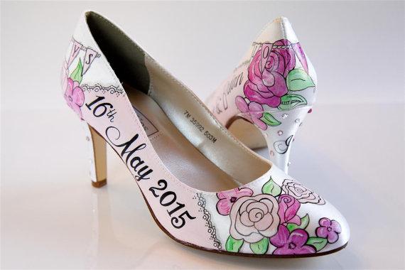 Hochzeit - Blooming Flowers Wedding Shoes, Wedding Shoe, Custom Hand painted High Heels