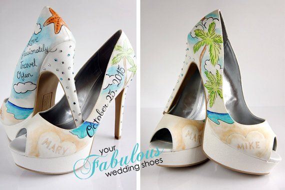 Wedding - Beach Wedding Shoes, Destination Wedding Personalized Shoes, The Best Shower Gift