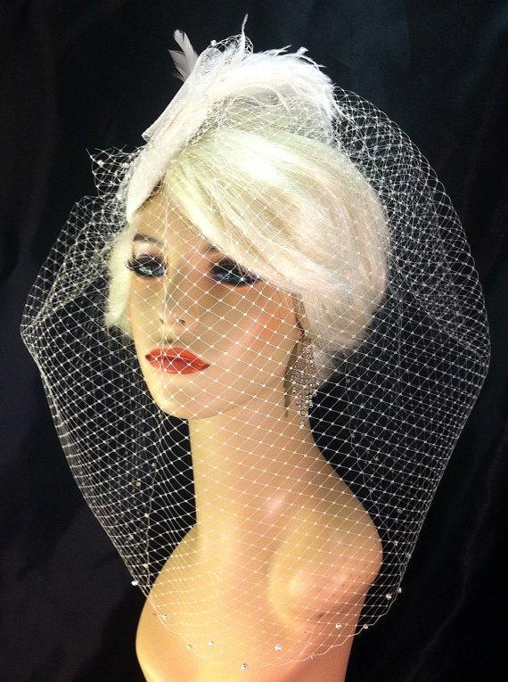 Mariage - Birdcage Veil, Bridal Hat, Ivory, Feather Fascinator, Wedding Head Piece, Veil, Swarovski Crystals and Rhinestones - Velvet or Dupioni Silk