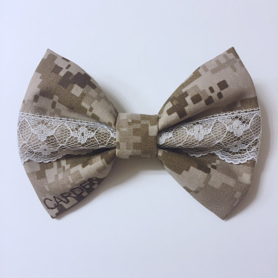 Mariage - Military camo center lace bow