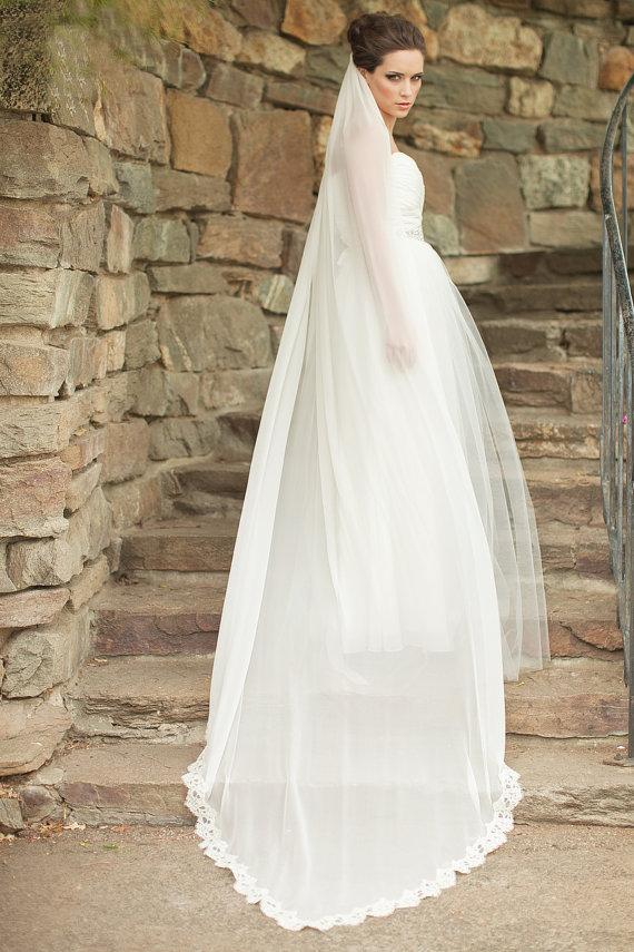 Mariage - Silk Chiffon French Alencon Lace Veil, Cathedral Veil, Silk Bridal Veil, Heirloom Veil - Victoria  MADE TO ORDER- Style 6913