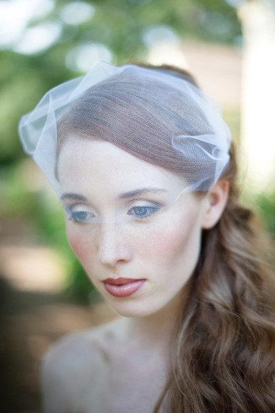 Wedding - Tulle Bandeau Veil, Birdcage Veil, Wedding Veil, Bridal Veil, tulle Veil, Bird Cage Veil, Ivory Tulle Veil