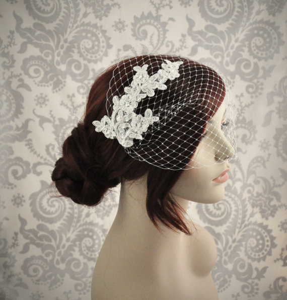 Mariage - Ready to Ship - Birdcage Veil - Lace Birdcage Veil - Bandeau Veil, Bird cage Veil with beaded lace, Ivory ready to ship - 101BC