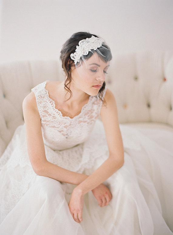 Hochzeit - Short Beaded Lace Birdcage Veil, Small Tulle Birdcage Veil with Hand Beaded Lace