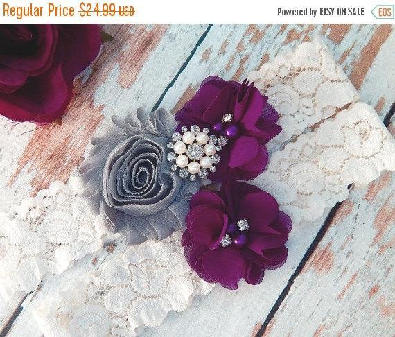 Свадьба - ON SALE GARTER / Wedding Garter Set / Bridal Garter / Match Your Color Garter / Plum Grey Garter Wedding / Toss garter / Lace Garter / Garte