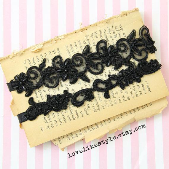 Wedding - Black Beaded Lace Wedding Garter Set, Black Flower  Lace Garter Set, Toss Garter , Keepsake Garter / GT-21