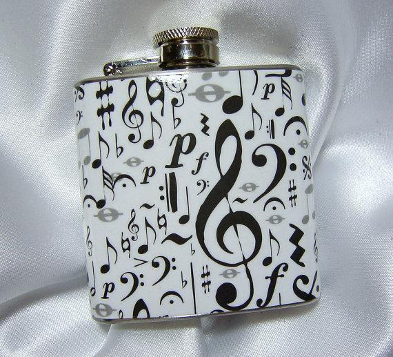 Свадьба - 3 oz Womens Mini Hip Flask w/ Music Notes w/ Black Tote and Funnel - Great Gift Idea